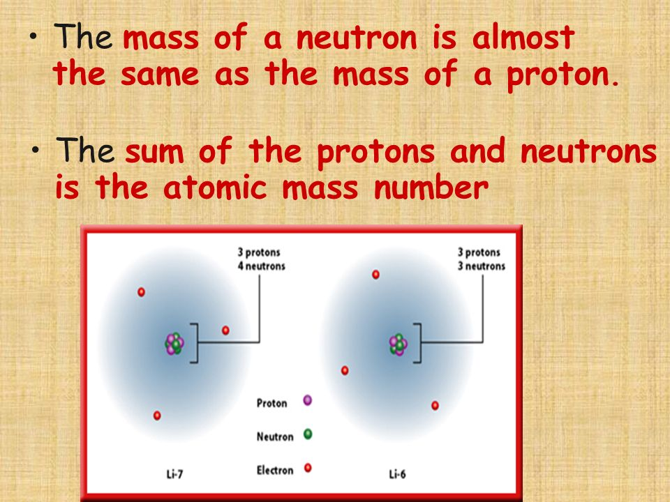 The mass of a neutron is almost the same as the mass of a proton.
