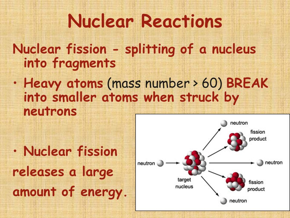 Nuclear Reactions Nuclear fission - splitting of a nucleus into fragments.