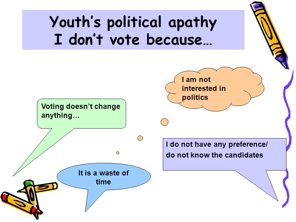 political apathy One major reason for political apathy, arguably, is due to the image and background of politicians the stereotype of the british politician is white, male, privately educated and rich can there be a solution for political apathy is education the key for it sadly that stereotype is fact, with men .