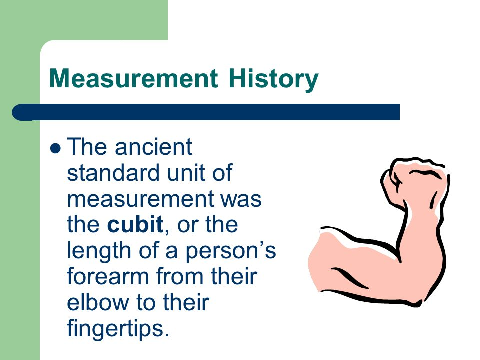 Measurement History The ancient standard unit of measurement was the cubit, or the length of a person's forearm from their elbow to their fingertips.