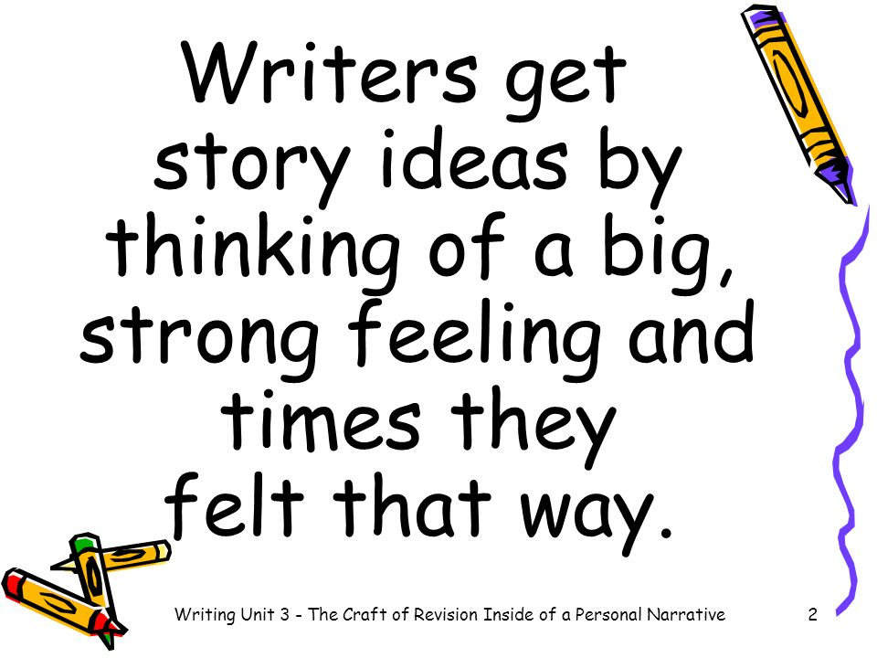 Writing Unit 3 - The Craft of Revision Inside of a Personal Narrative