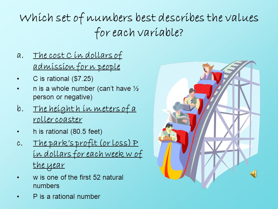 Which set of numbers best describes the values for each variable