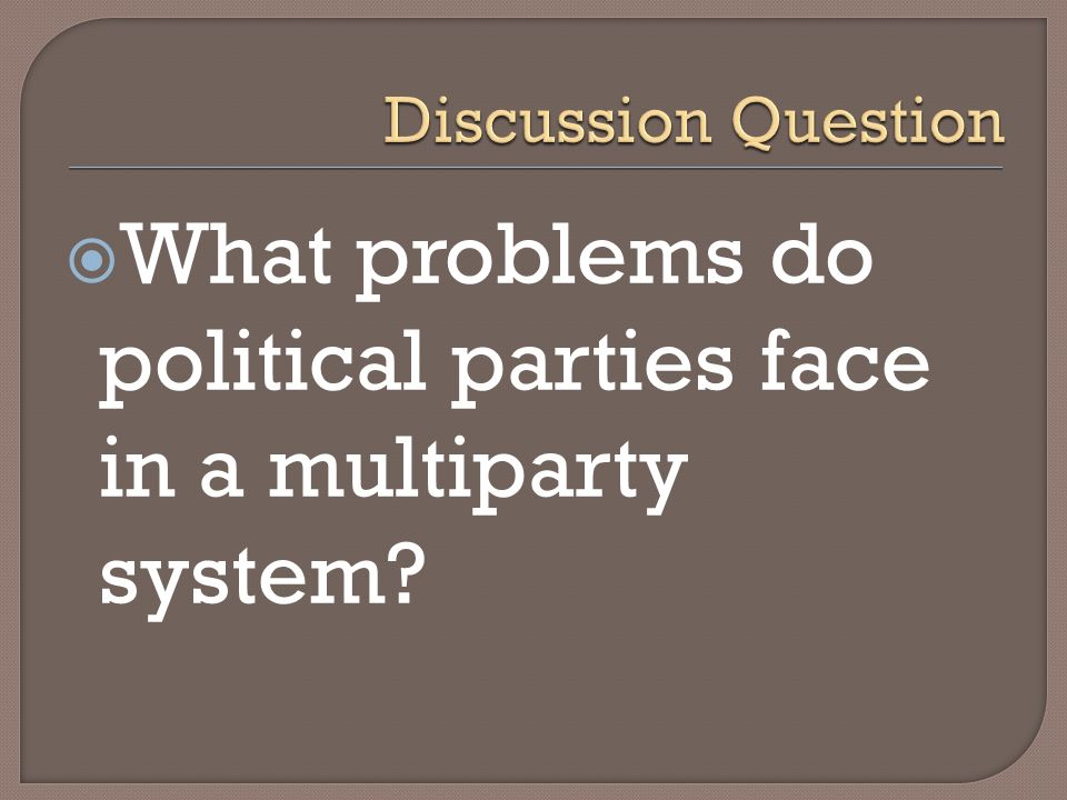 What problems do political parties face in a multiparty system