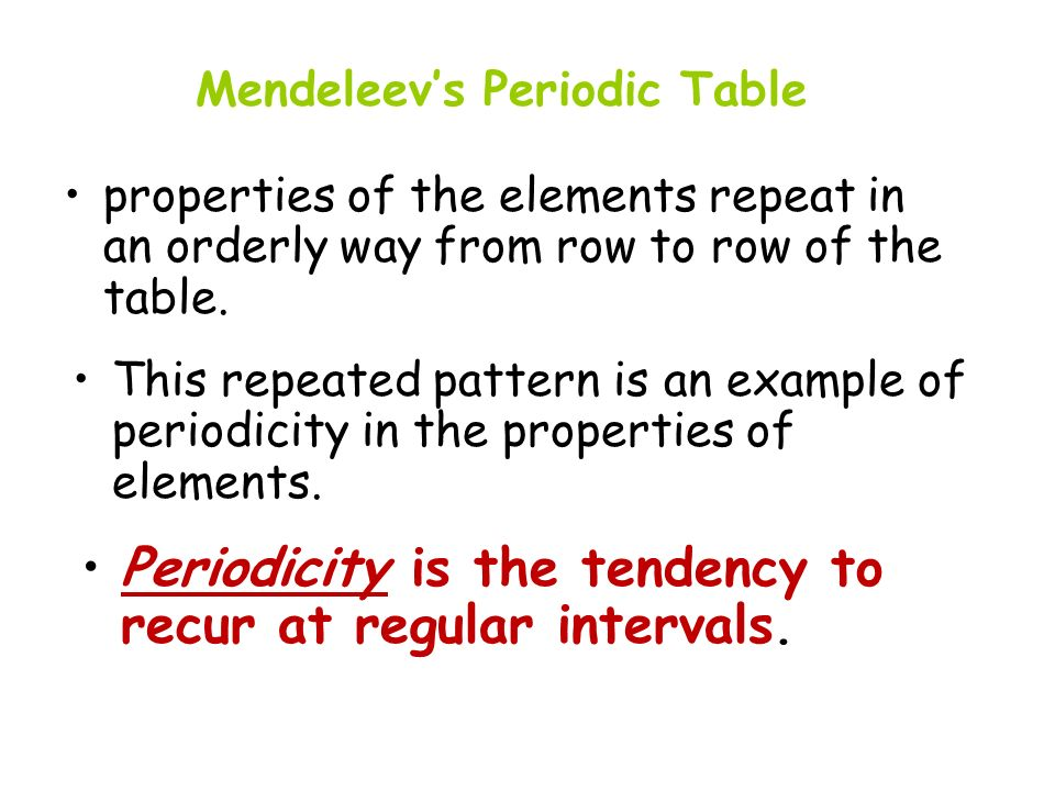 Periodicity is the tendency to recur at regular intervals.
