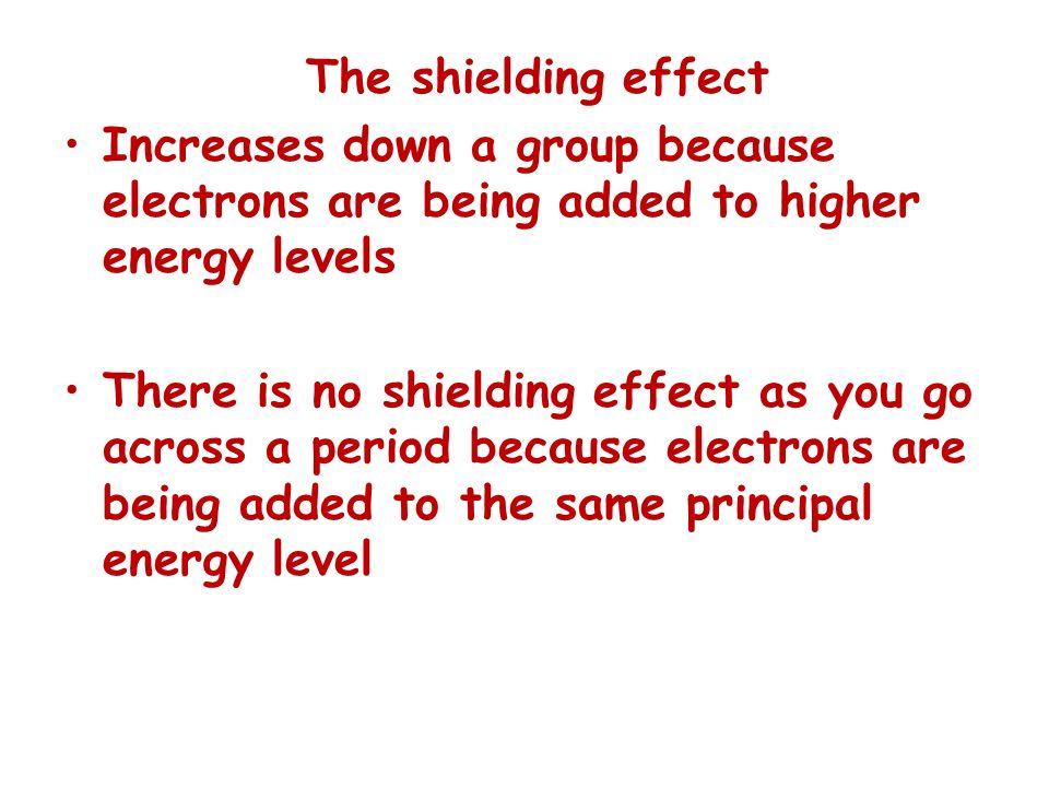The shielding effect Increases down a group because electrons are being added to higher energy levels.
