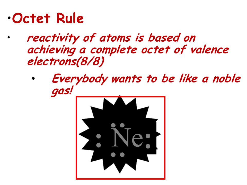 Octet Rule reactivity of atoms is based on achieving a complete octet of valence electrons(8/8) Everybody wants to be like a noble gas!