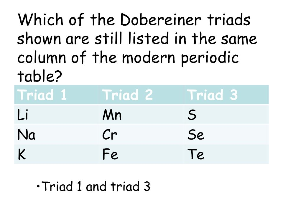 Which of the Dobereiner triads shown are still listed in the same column of the modern periodic table