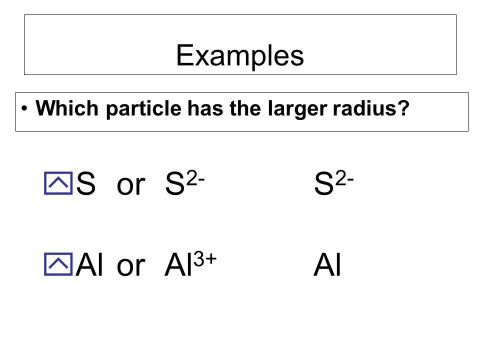 S or S2- Al or Al3+ S2- Al Examples