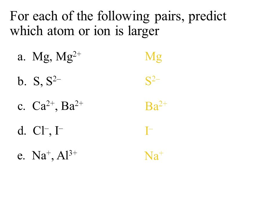 For each of the following pairs, predict which atom or ion is larger