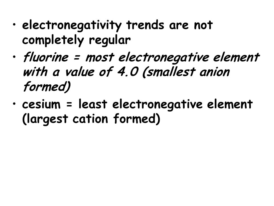 electronegativity trends are not completely regular