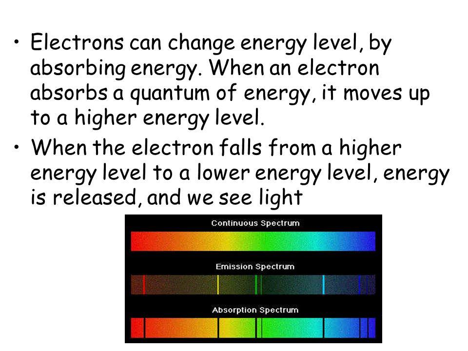 Electrons can change energy level, by absorbing energy