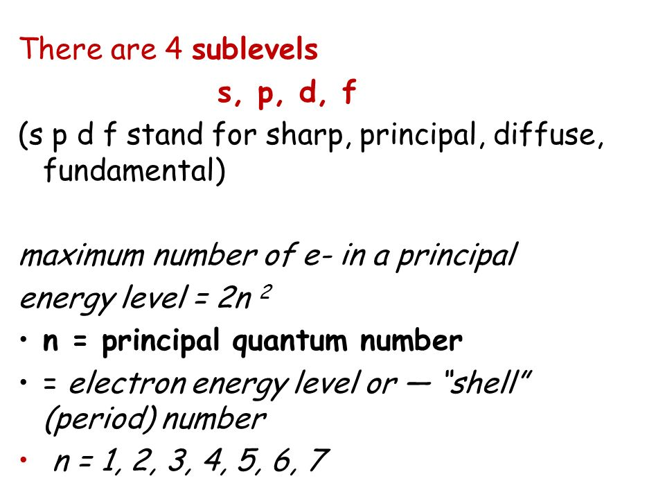 There are 4 sublevels s, p, d, f. (s p d f stand for sharp, principal, diffuse, fundamental) maximum number of e- in a principal.