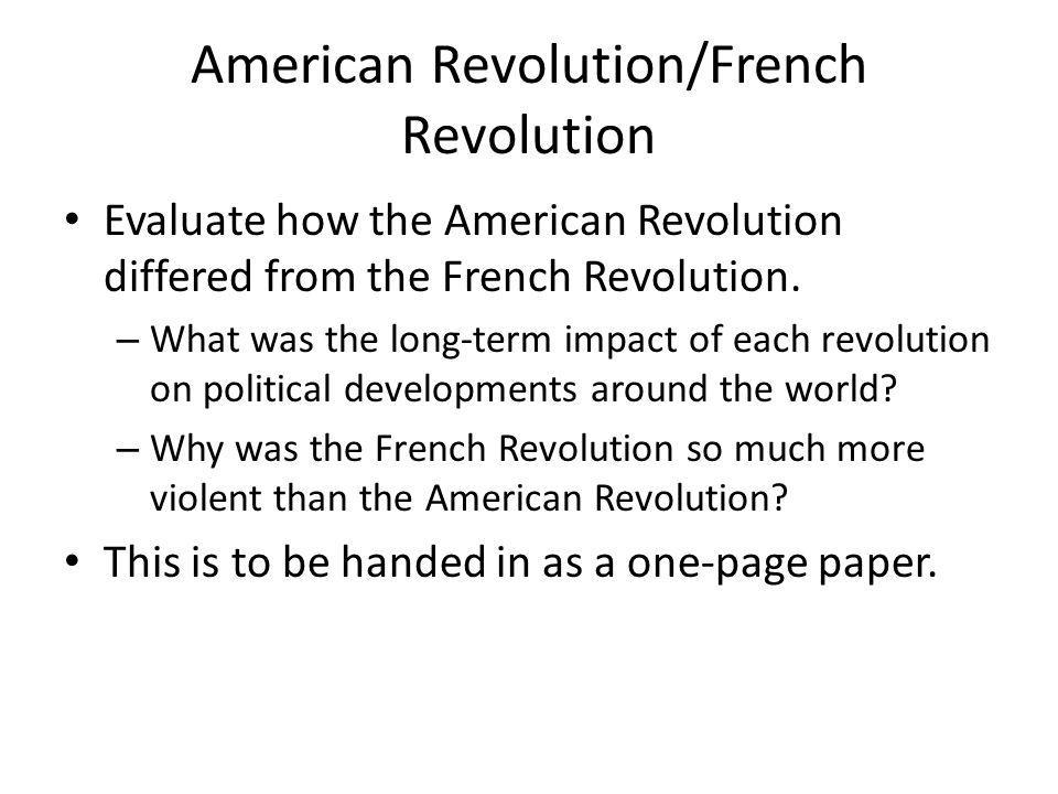 American Revolution/French Revolution