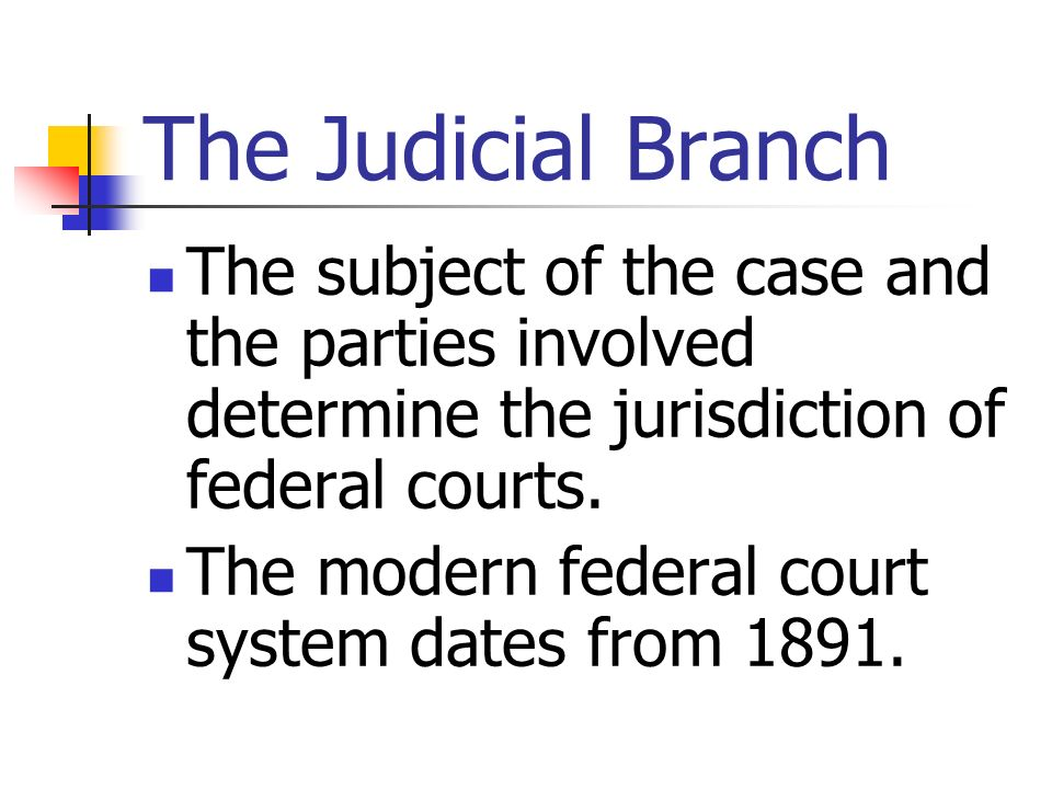 The Judicial Branch The subject of the case and the parties involved determine the jurisdiction of federal courts.
