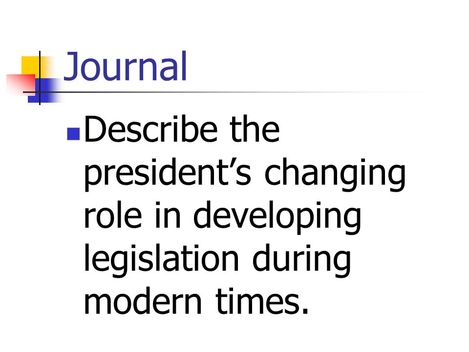 Journal Describe the president's changing role in developing legislation during modern times.