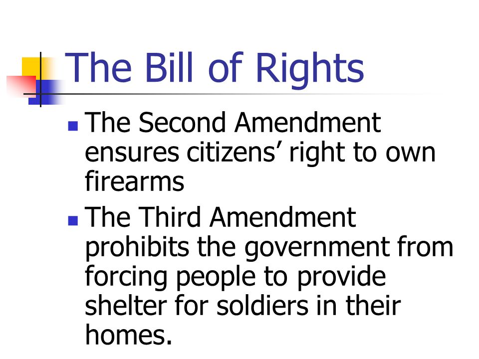 The Bill of Rights The Second Amendment ensures citizens' right to own firearms.