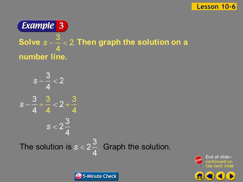 Then graph the solution on a number line. Solve