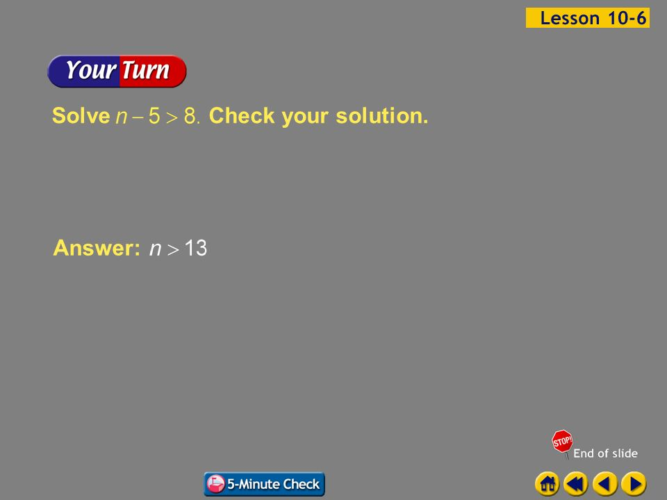 Solve Check your solution. Answer: Example 6-1b