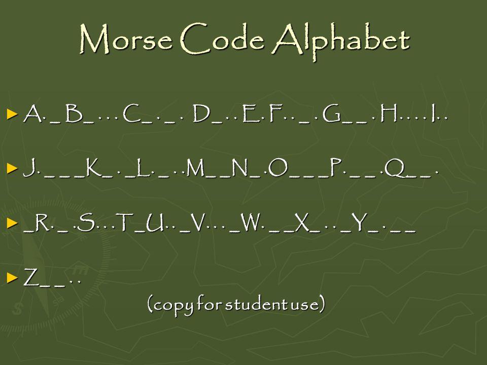 Morse Code Alphabet A. _ B_ . . . C_ . _ . D_ . . E. F. . _ . G_ _ . H. . . . I. . J. _ _ _K_ . _L. _ . .M_ _N_ .O_ _ _P. _ _ .Q_ _ .