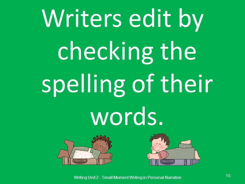 Writers edit by checking the spelling of their words.