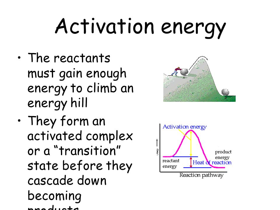 Activation energy The reactants must gain enough energy to climb an energy hill.