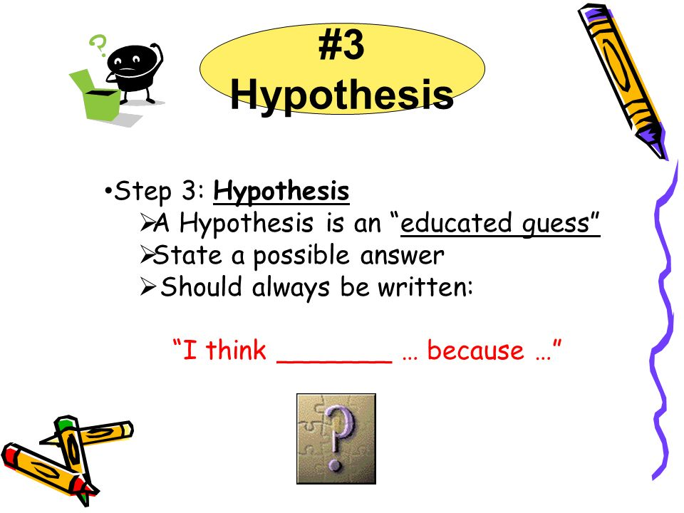 #3 Hypothesis Step 3: Hypothesis A Hypothesis is an educated guess