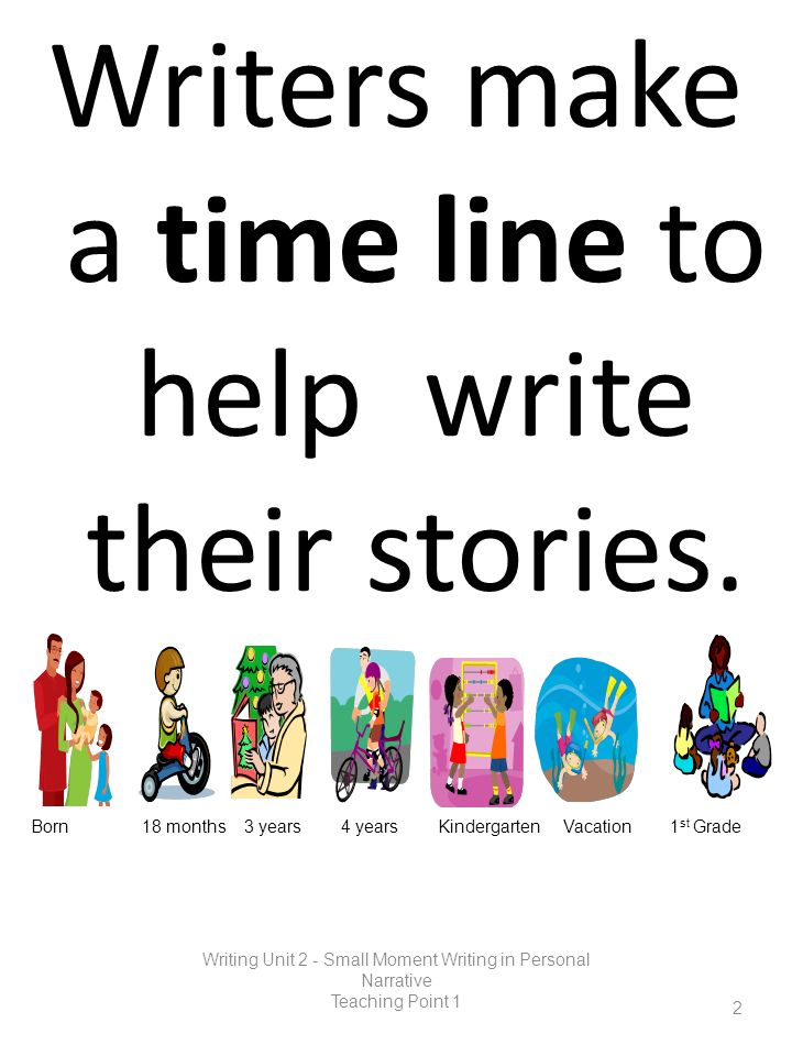 Writers make a time line to help write their stories.