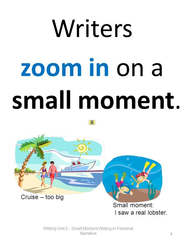 Writers zoom in on a small moment.
