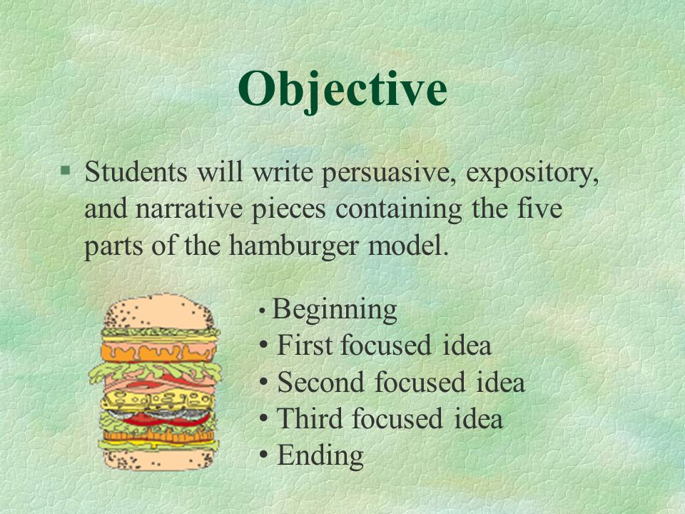 Objective Students will write persuasive, expository, and narrative pieces containing the five parts of the hamburger model.