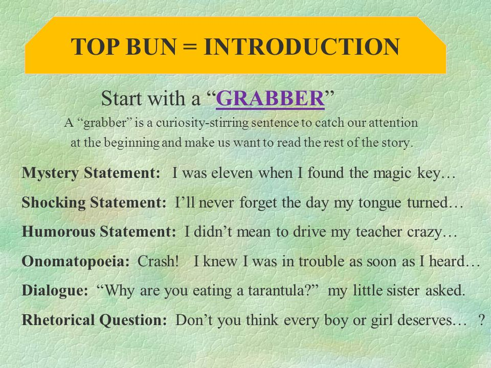 TOP BUN = INTRODUCTION Start with a GRABBER