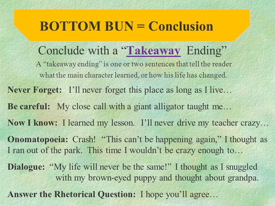 BOTTOM BUN = Conclusion