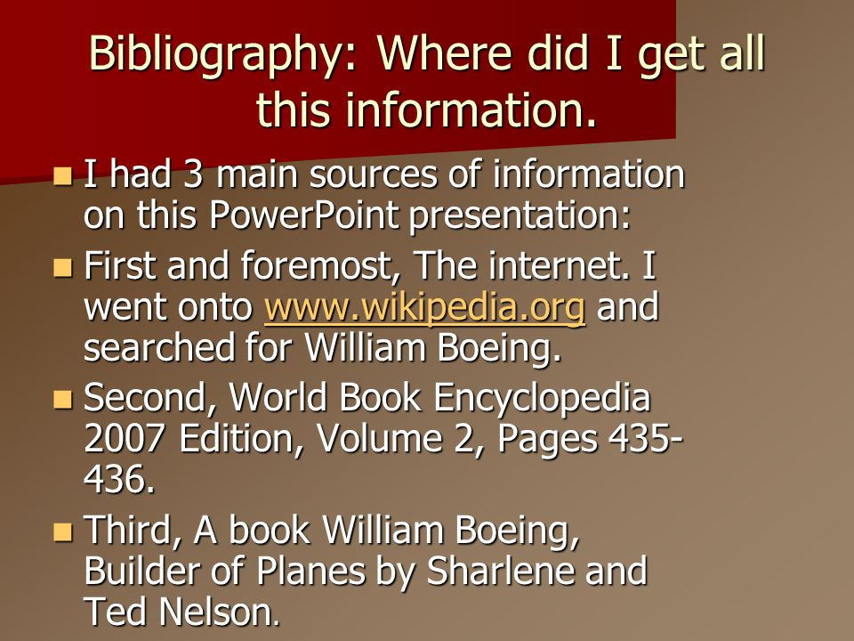 Bibliography: Where did I get all this information.
