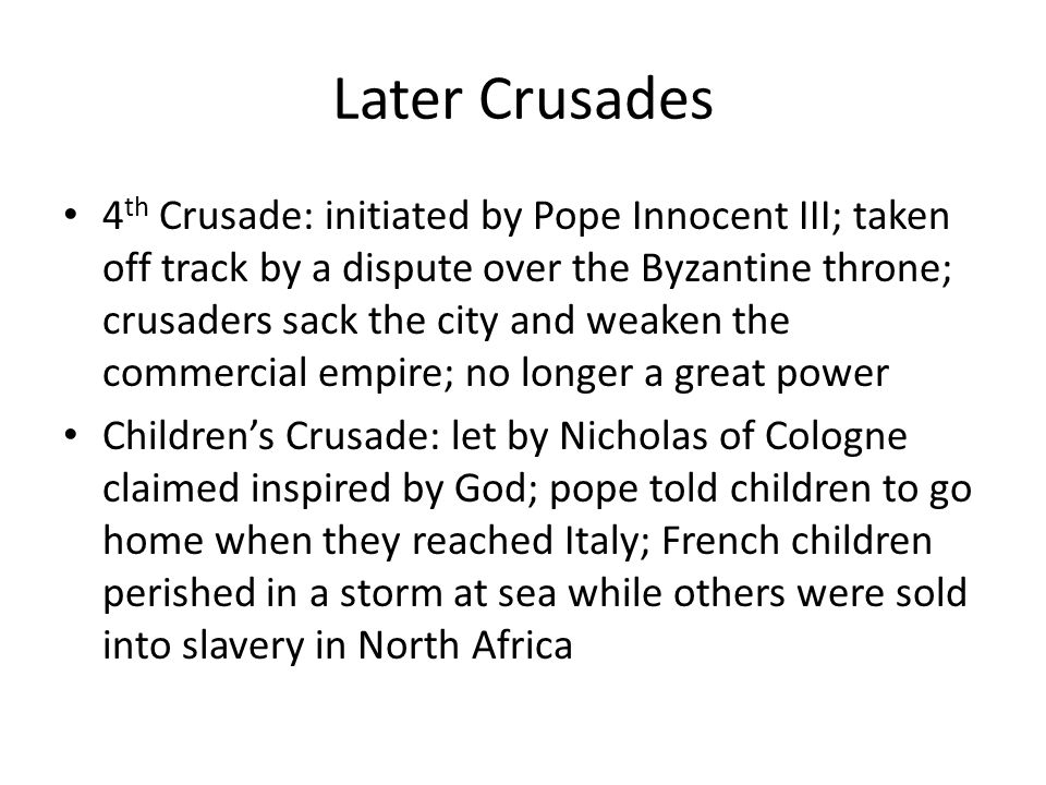 Later Crusades