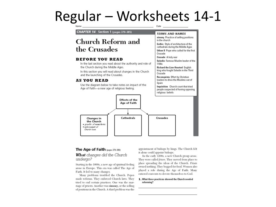 Regular – Worksheets 14-1