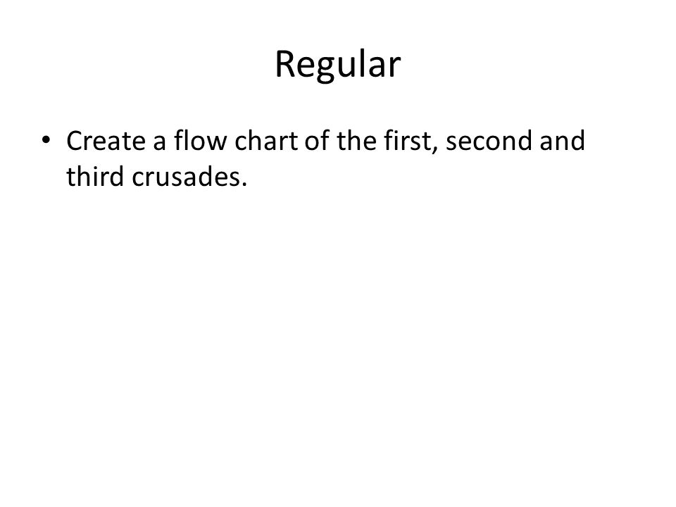 Regular Create a flow chart of the first, second and third crusades.