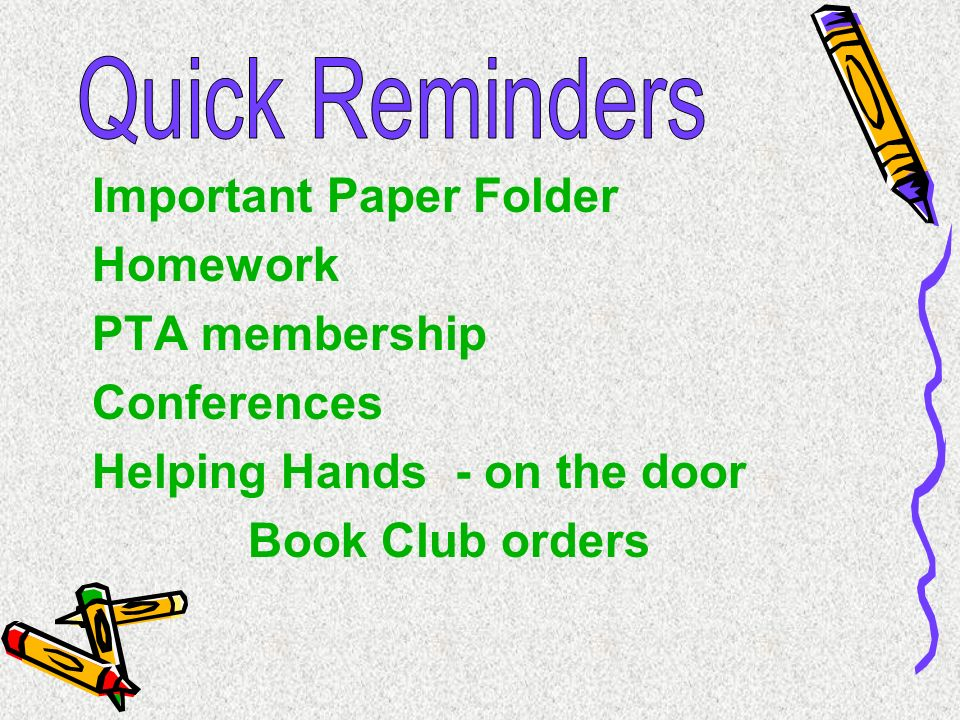 Important Paper Folder Homework PTA membership Conferences
