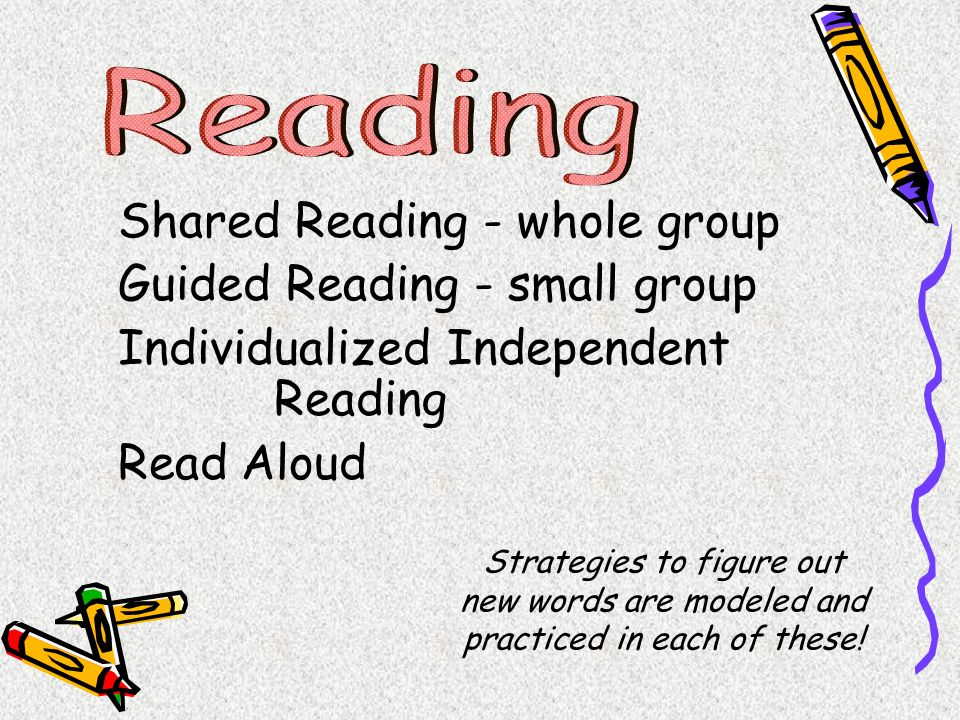 Shared Reading - whole group Guided Reading - small group
