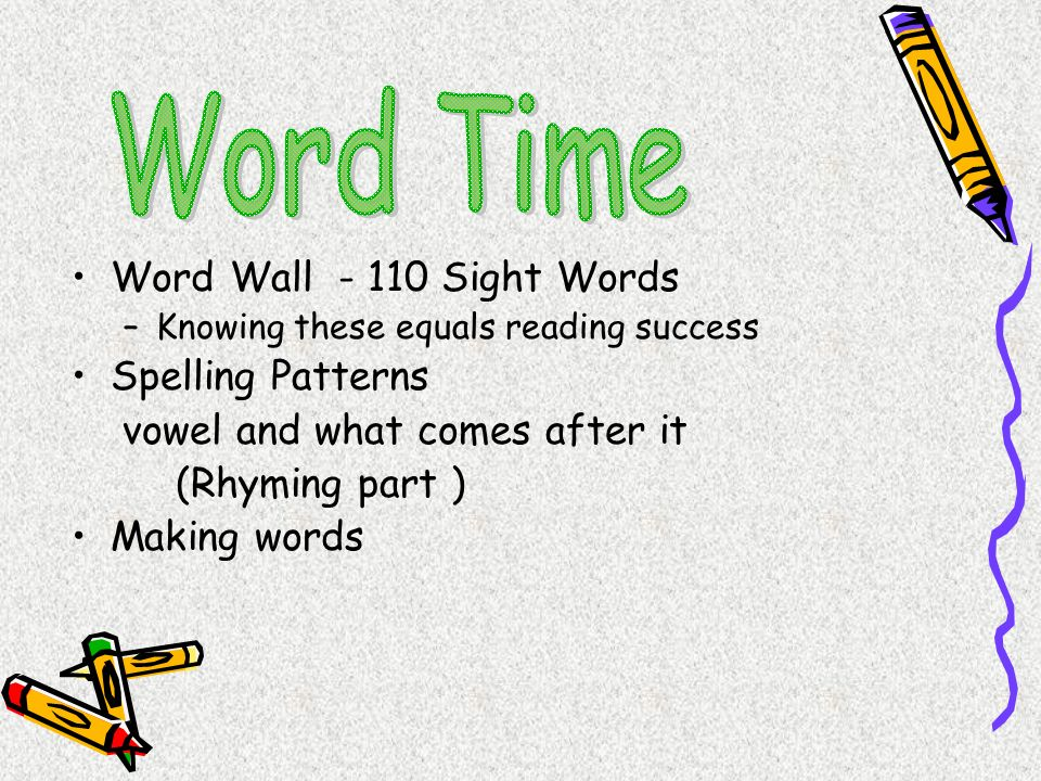 Word Time Word Wall - 110 Sight Words Spelling Patterns