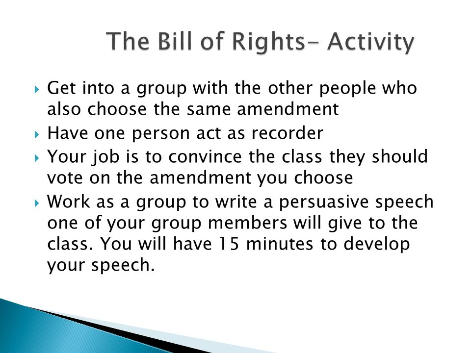 The Bill of Rights- Activity