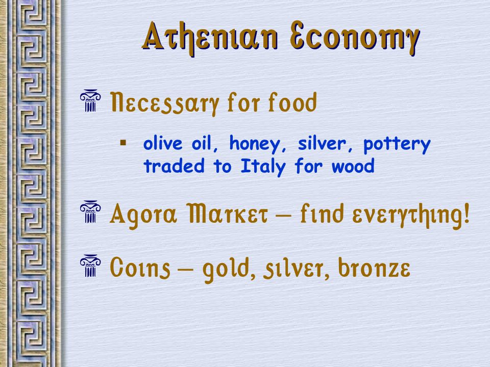 Athenian Economy Necessary for food Agora Market – find everything!