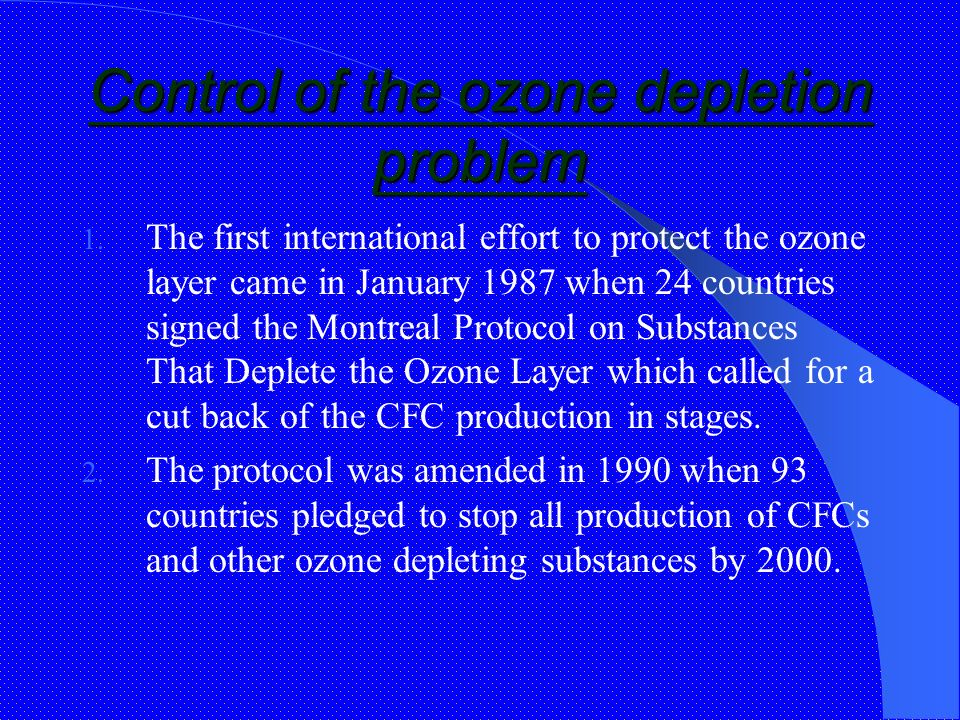 "the problem of depleting ozone The second problem — the one usually thought of when referring to the ""ozone problem"" — concerns the ozone layer in the the ozone depletion process step."