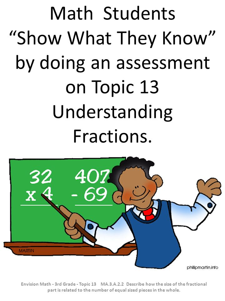 Math Students Show What They Know by doing an assessment on Topic 13 Understanding Fractions.