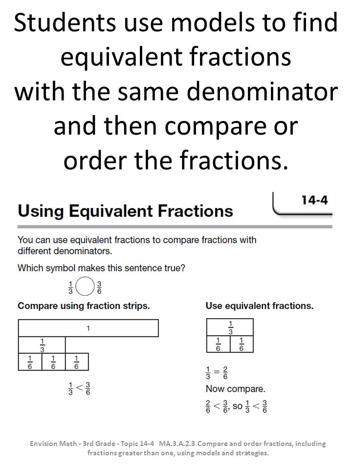 Students use models to find equivalent fractions with the same denominator and then compare or order the fractions.