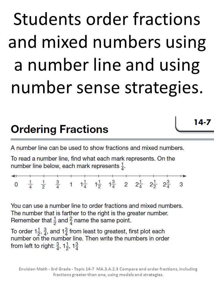 Students order fractions and mixed numbers using a number line and using number sense strategies.