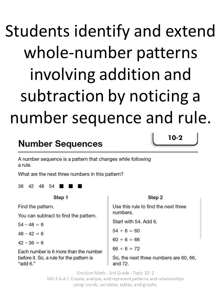 Students identify and extend whole-number patterns involving addition and subtraction by noticing a number sequence and rule.