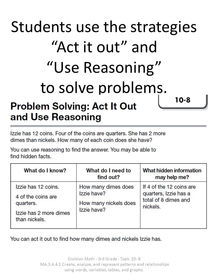 Students use the strategies Act it out and Use Reasoning to solve problems.