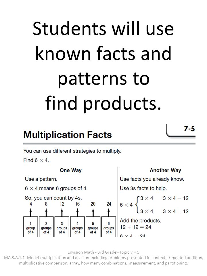 Students will use known facts and patterns to find products.