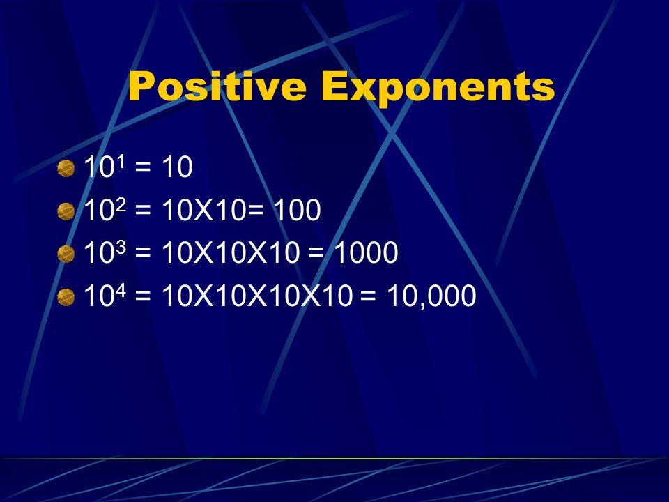 Positive Exponents 101 = 10 102 = 10X10= 100 103 = 10X10X10 = 1000