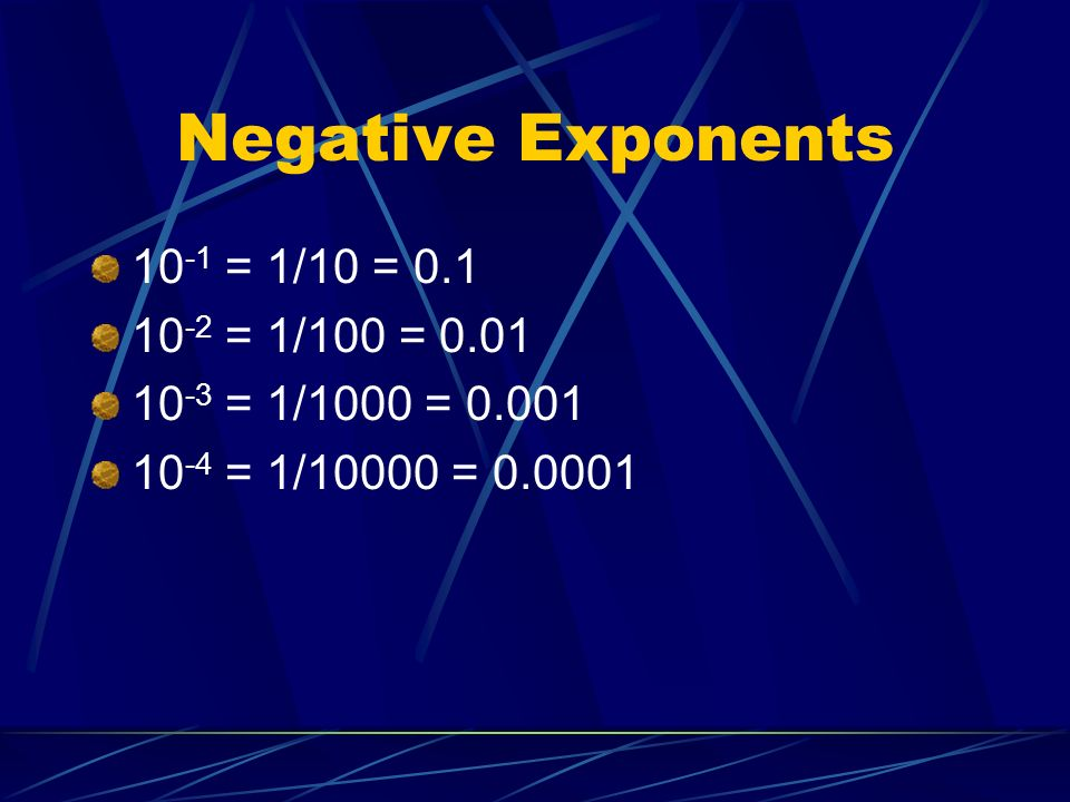 Negative Exponents 10-1 = 1/10 = 0.1 10-2 = 1/100 = 0.01