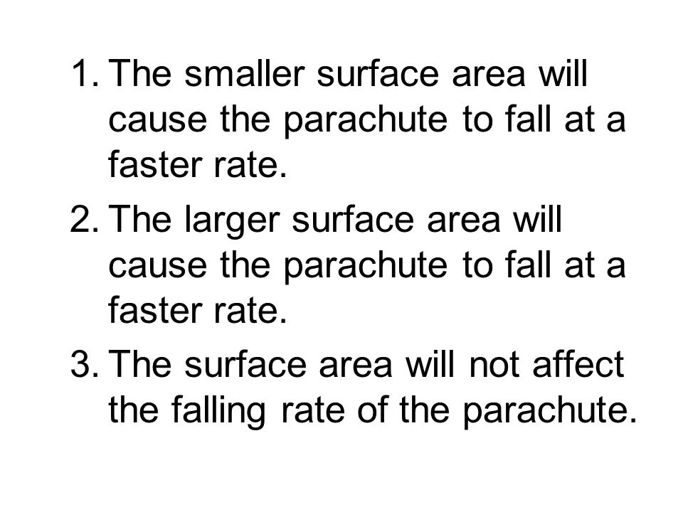 The smaller surface area will cause the parachute to fall at a faster rate.